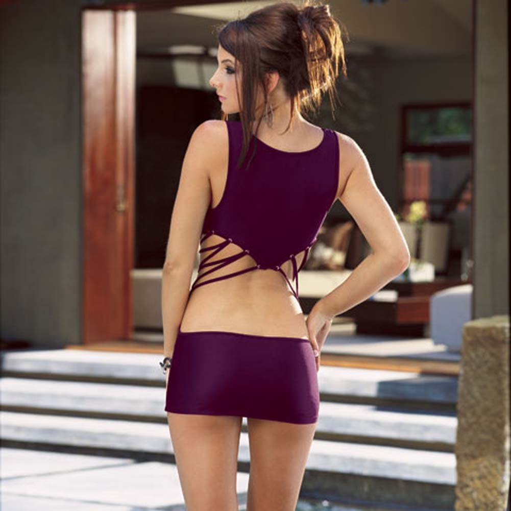 Microfiber Tank Dress with Thong Purple Medium - View #2