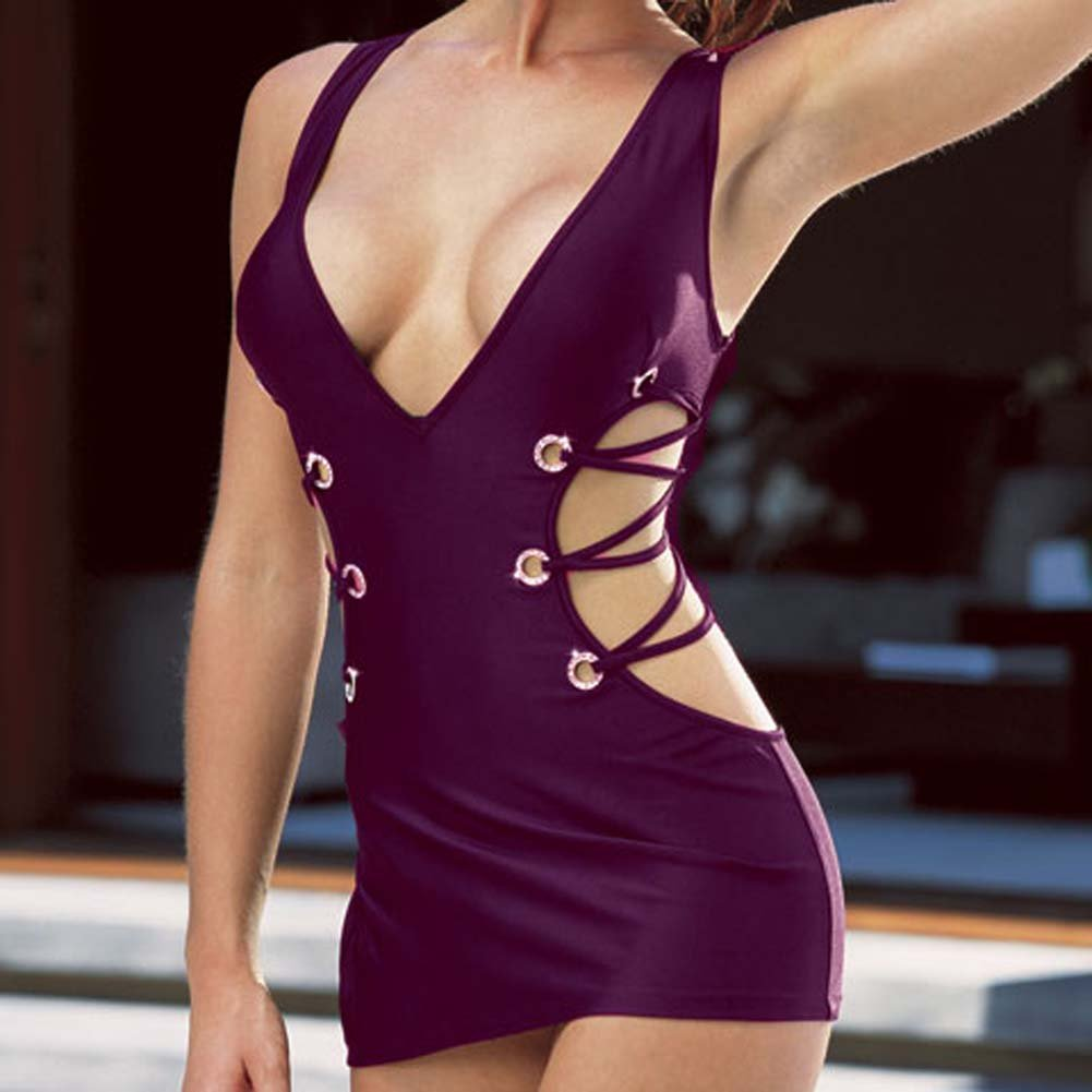Microfiber Tank Dress with Thong Purple Large - View #3