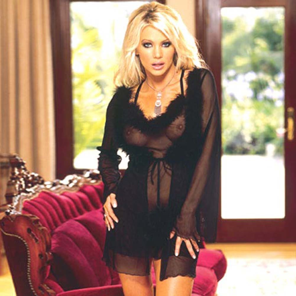 Marabou Trimmed Robe and Babydoll Black Medium - View #2