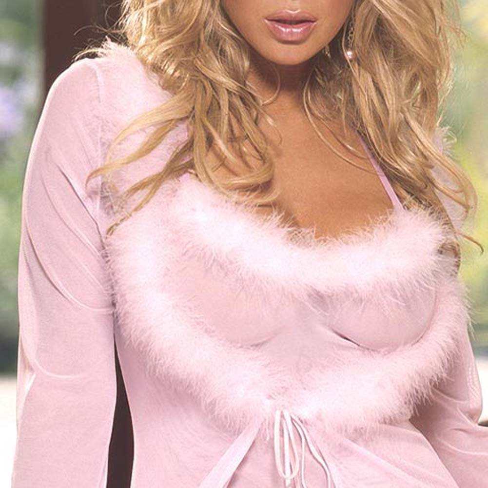 Marabou Trimmed Robe and Babydoll Pink Large - View #1