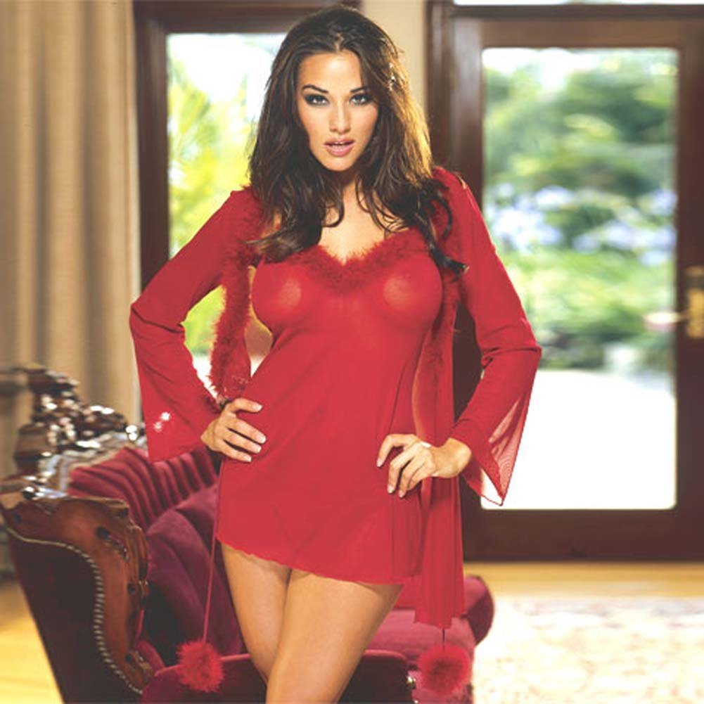 Marabou Trimmed Robe and Babydoll Red Small - View #2