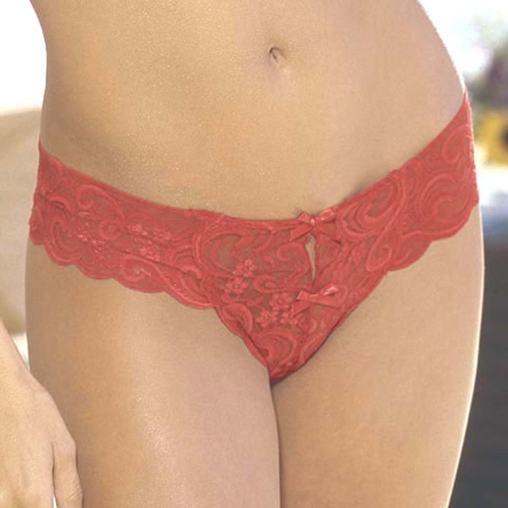 Low Rise Open Crotch G-String Style 1236 Red - View #1