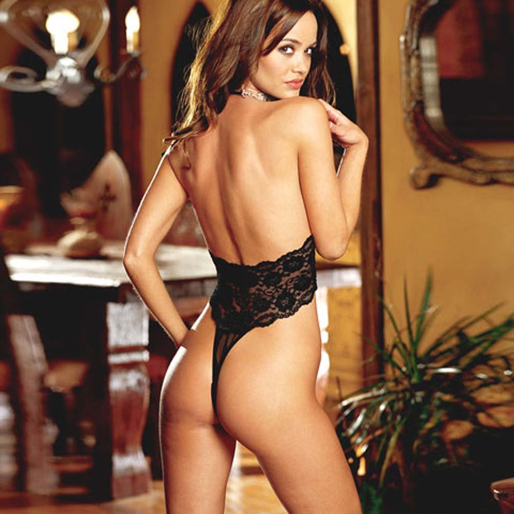 Strappy Stretch Lace Teddie with Thong Back Black - View #3