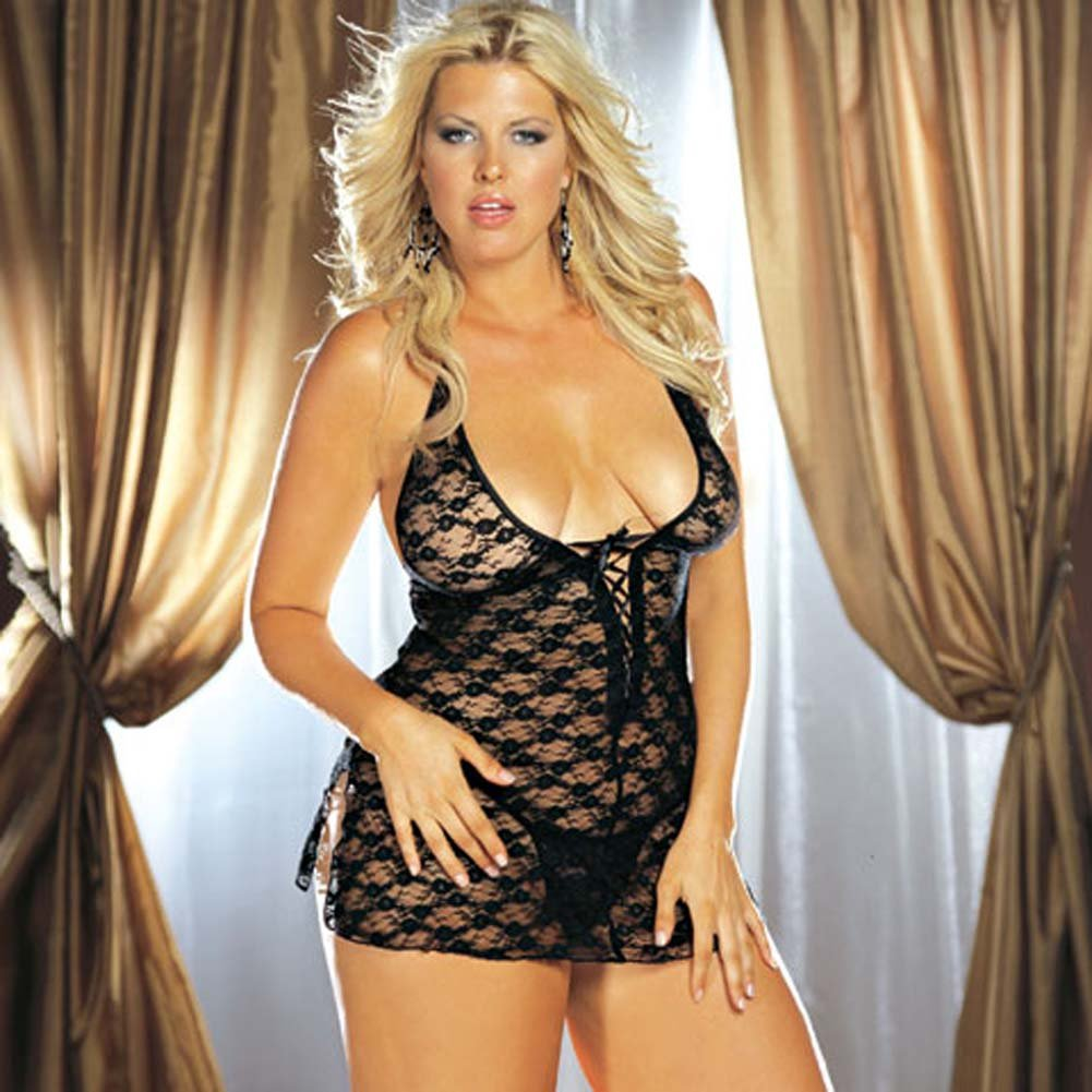 Stretch Lace Babydoll with Thong Black Plus Size - View #2