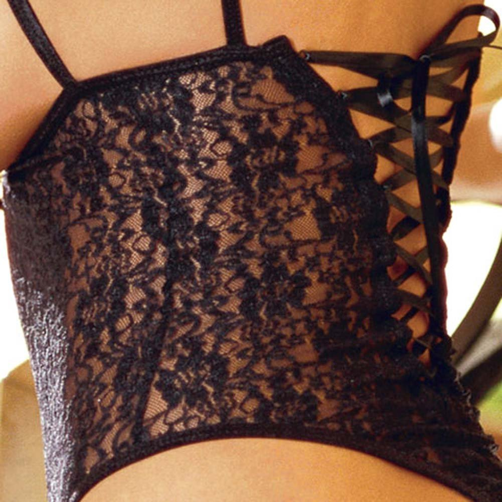 Stretch Lace Open Cup Teddie and G-String Style 3902 Black - View #4