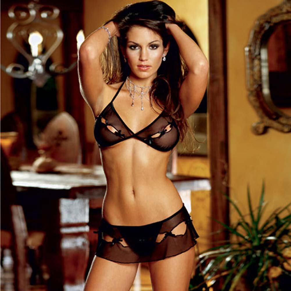 Peek A Boo Bra Top and Skirted Thong Black - View #1