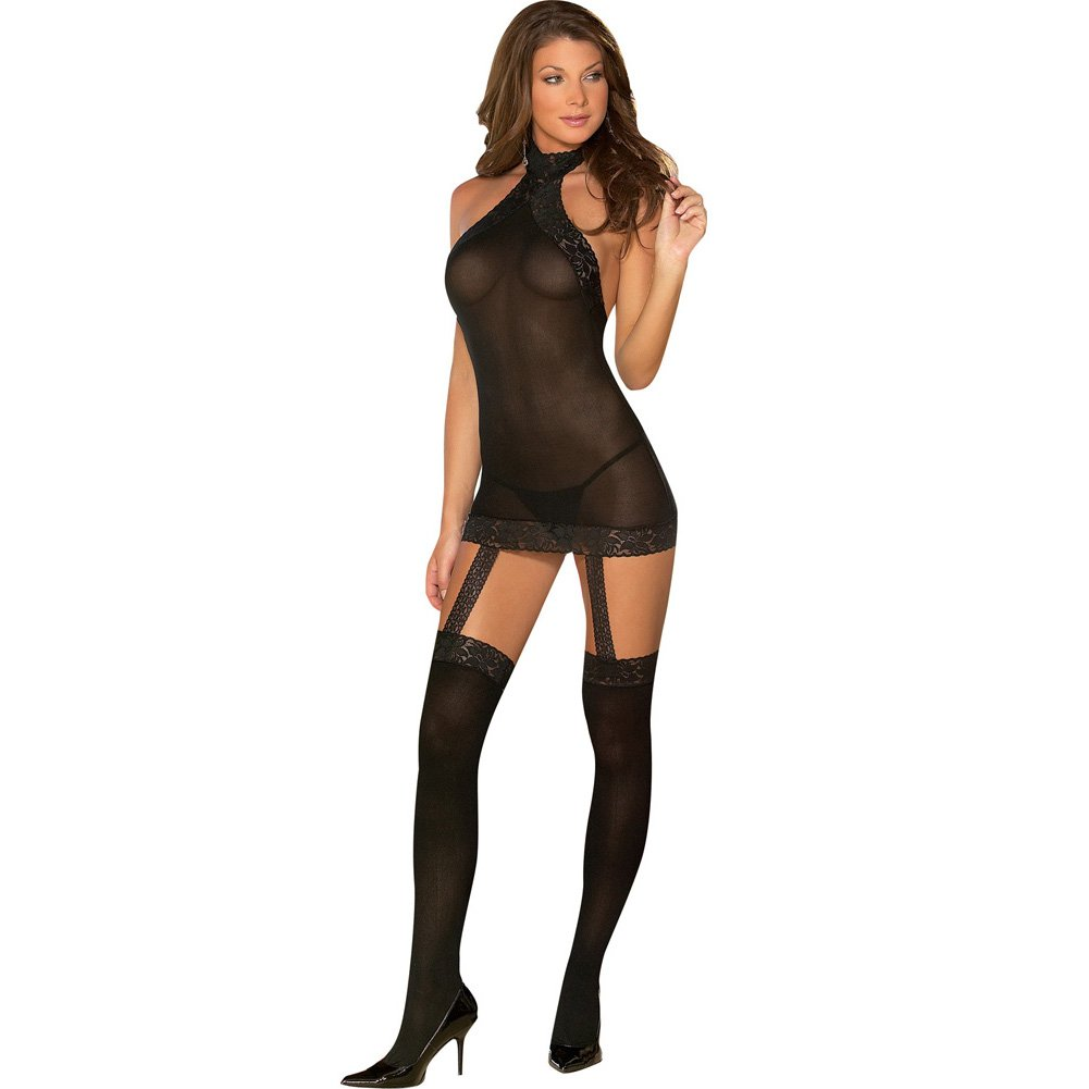 Sheer to Please Garter Dress with Attached Stockings One Size Black - View #1