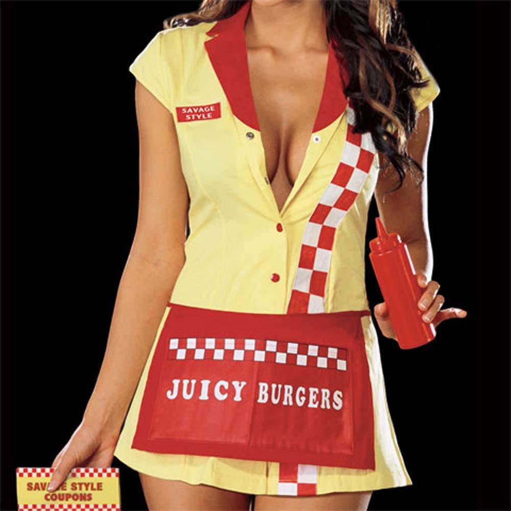 Juicy Burger Babe Costume Yellow Medium - View #4