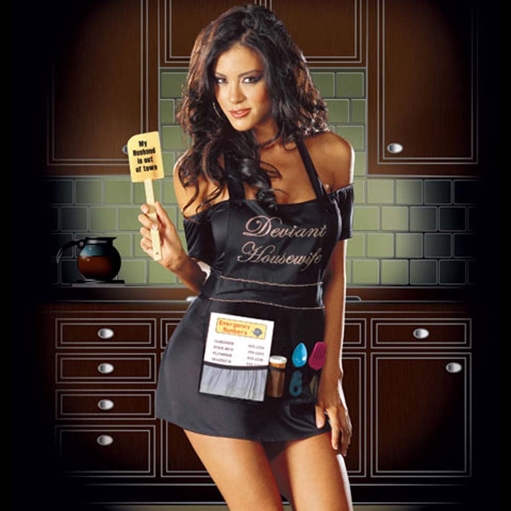 Deviant Housewife Costume Black Small - View #1