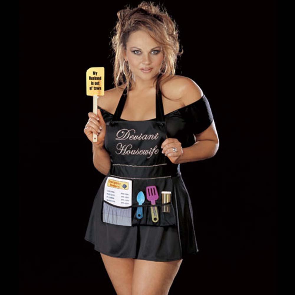 Deviant Housewife Costume Black Plus 3X/4X - View #1