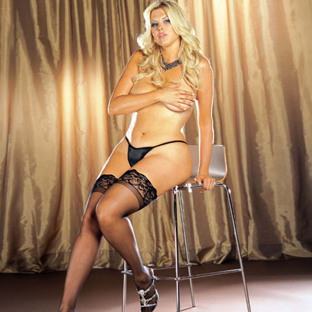 Dreamgirl Stay Up Sheer Thigh High with Lace Top Plus Size Black - View #3