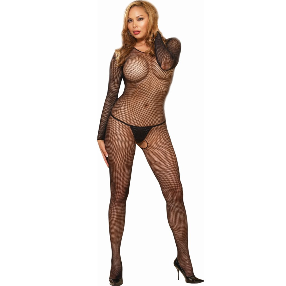 Amsterdam Fishnet Open Crotch Bodystocking Plus Size Black - View #1