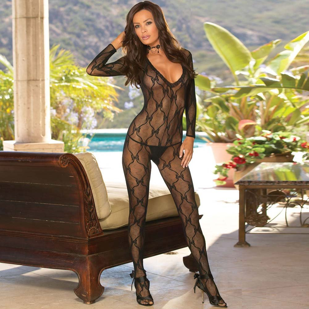 Bordeaux Style Bow Lace Bodystocking One Size Black - View #3