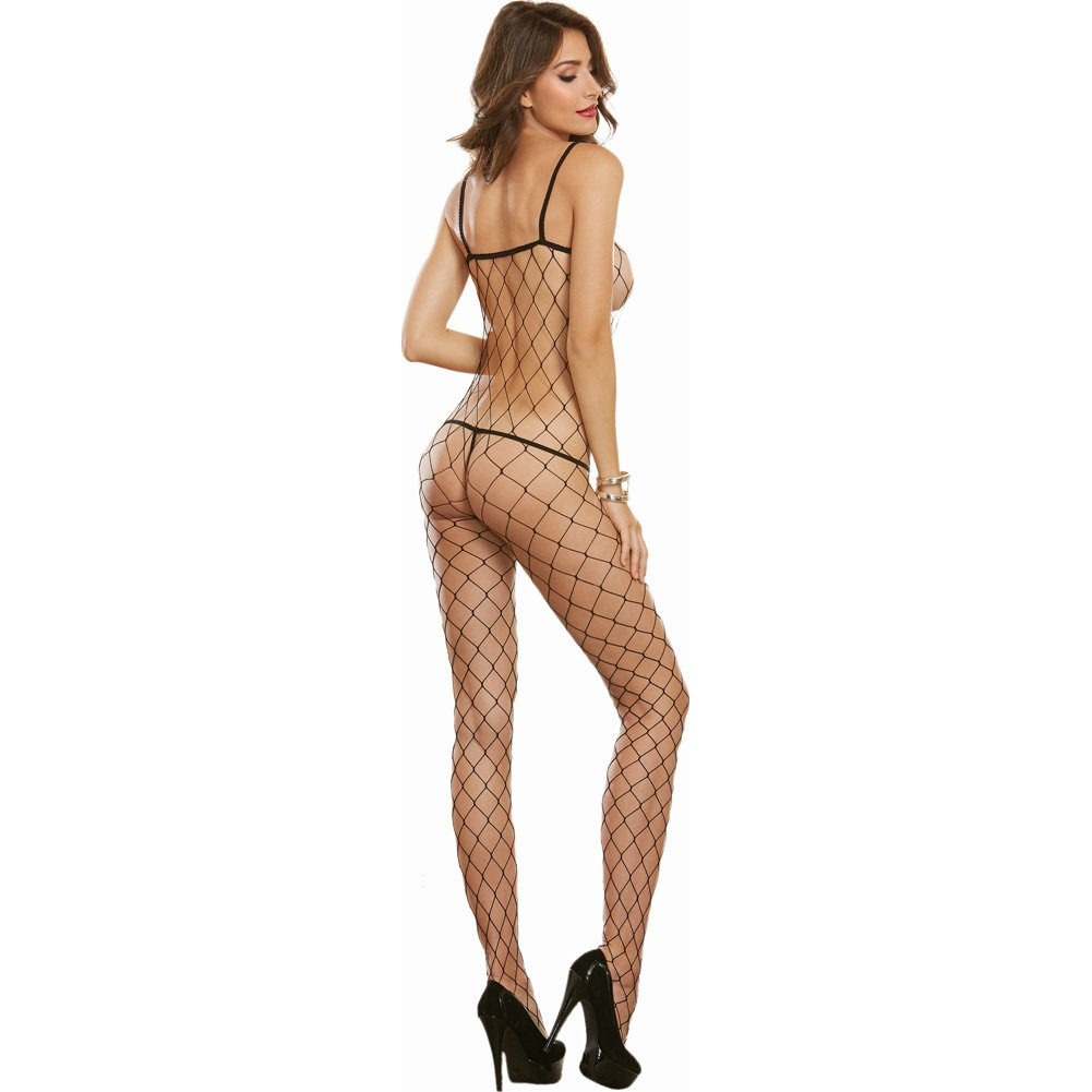 Cool Geneva Diamond Mesh Bodystocking One Size Black - View #2