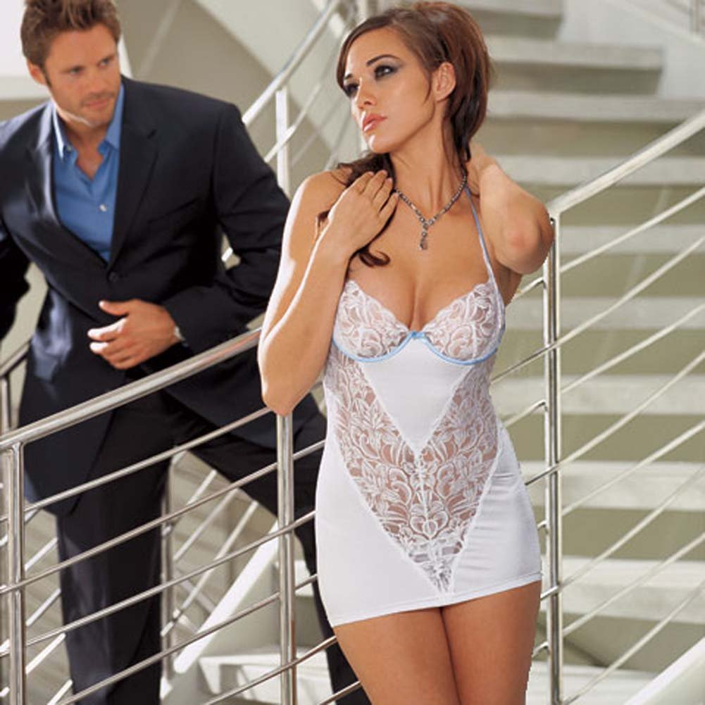 Sexy Lace Underwire Chemise and Thong Set White Medium - View #1