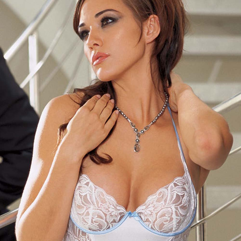 Sexy Lace Underwire Chemise and Thong Set White Large - View #2