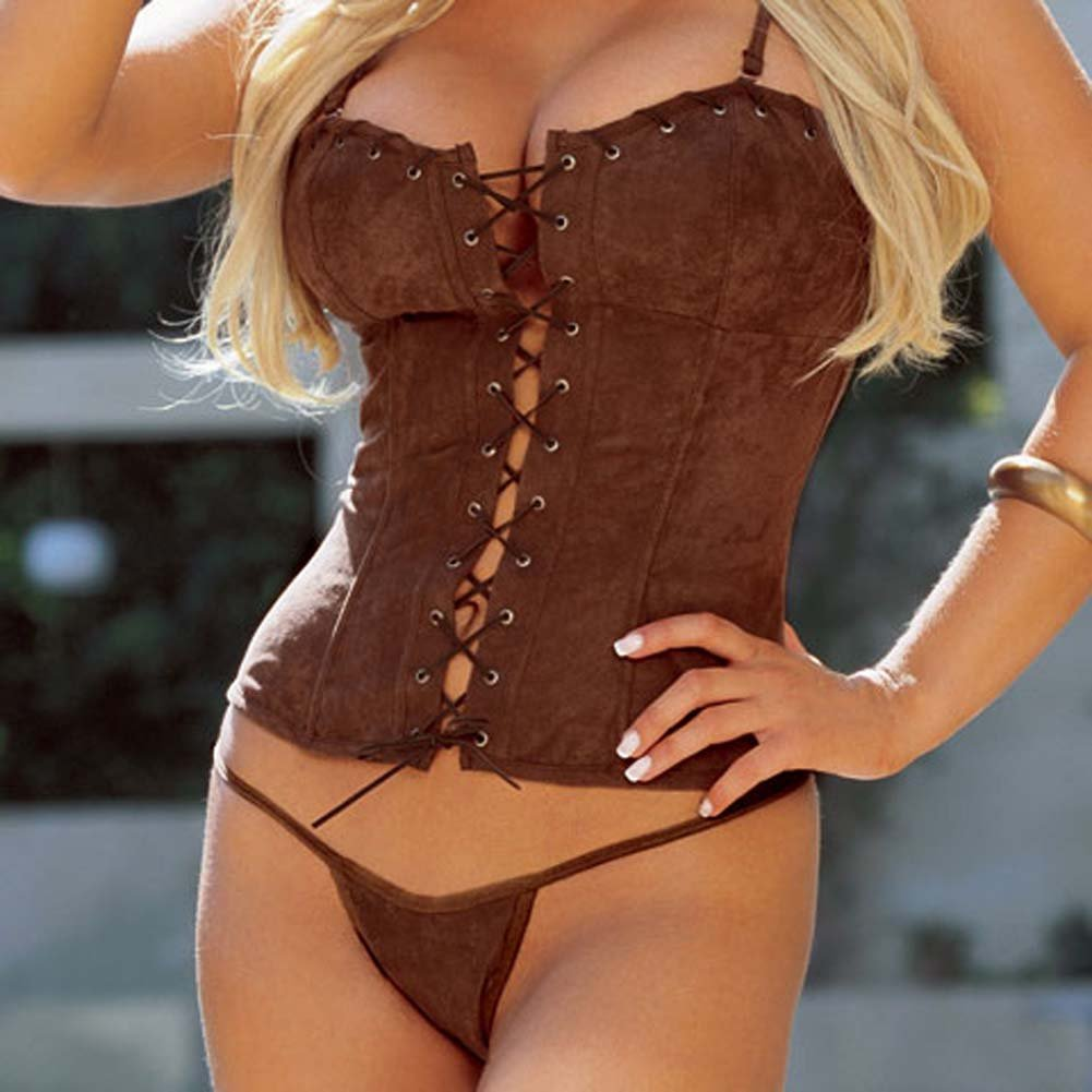 Sexy Suede Corset with Cap and Thong Brown Size 34 - View #3