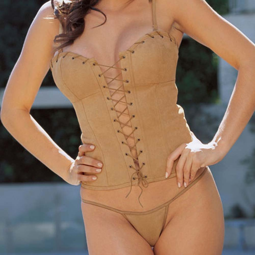 Sexy Suede Corset with Cap and Thong Camel Size 36 - View #3