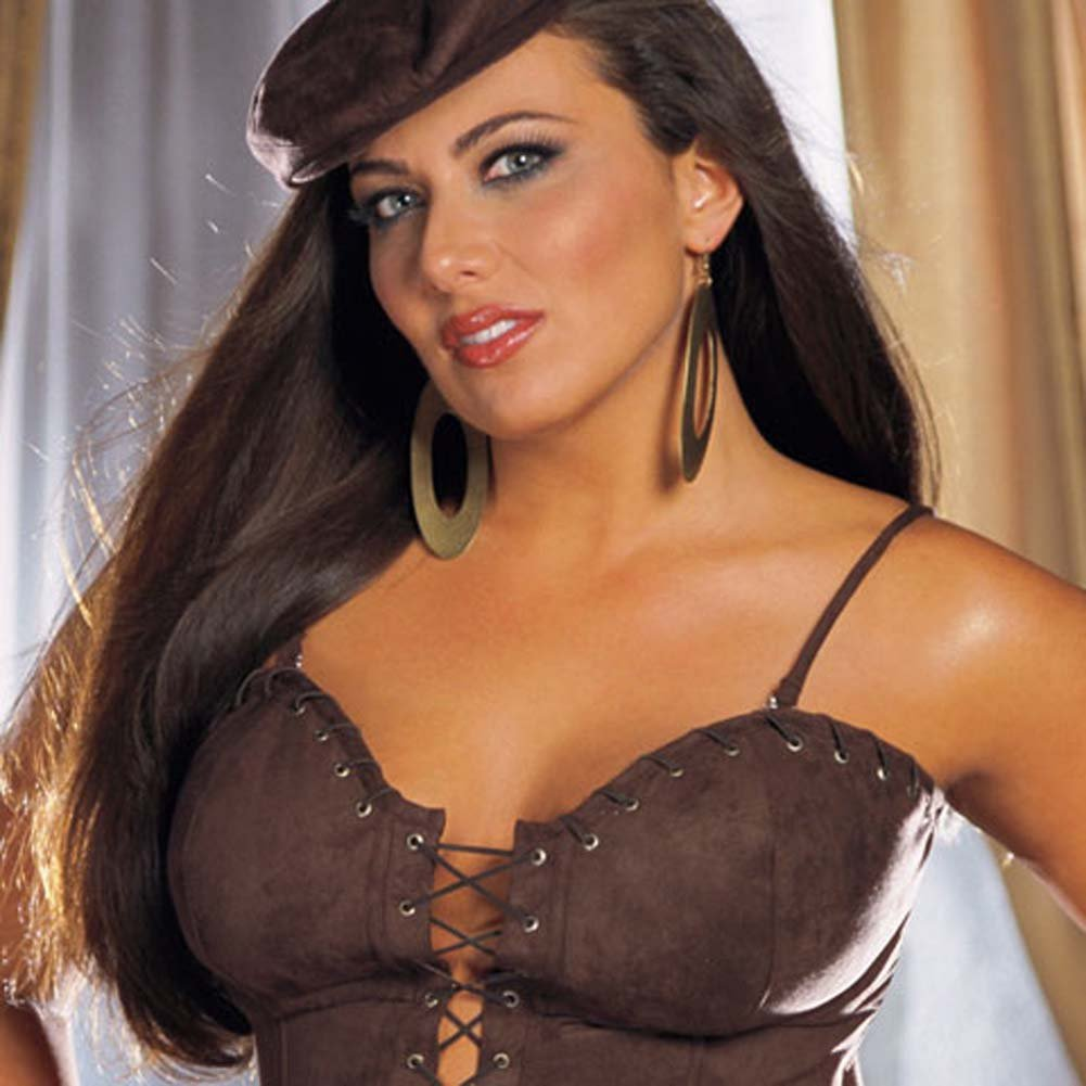Sexy Suede Corset with Cap and Thong Brown Pus Size 42 - View #2