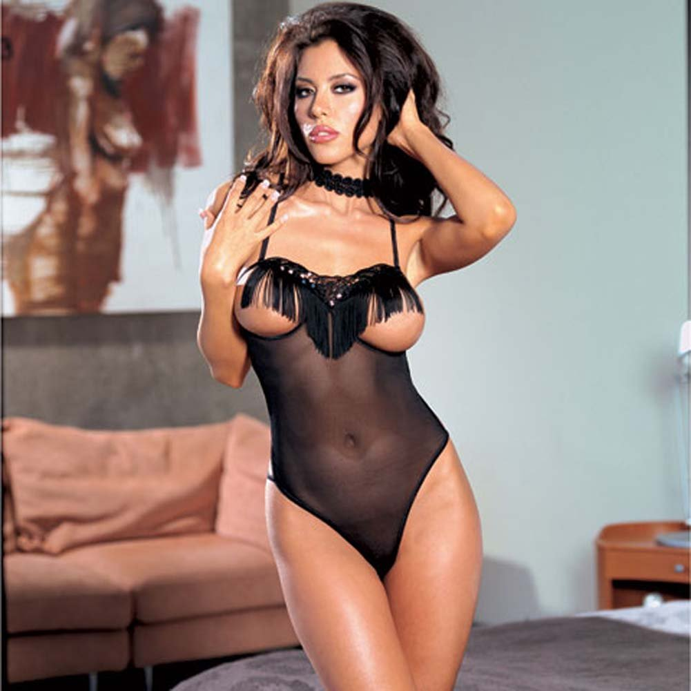 Swinging Fringe Open Cup Teddy with Strappy Back Black - View #1
