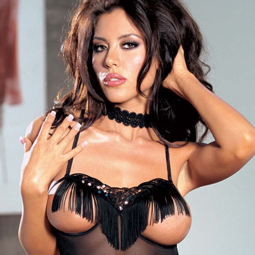 Swinging Fringe Open Cup Teddy with Strappy Back Black - View #3