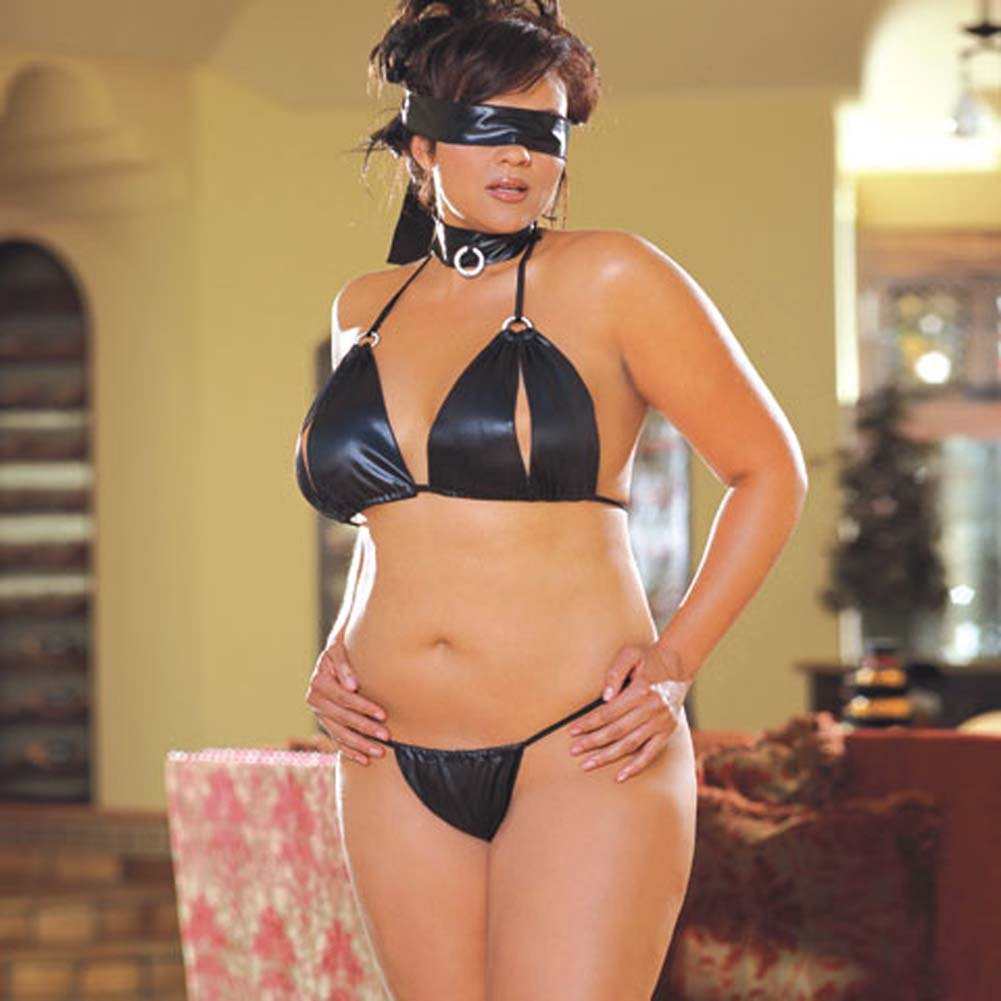 Bondage Betty 4 Piece Set Black Plus Size - View #2