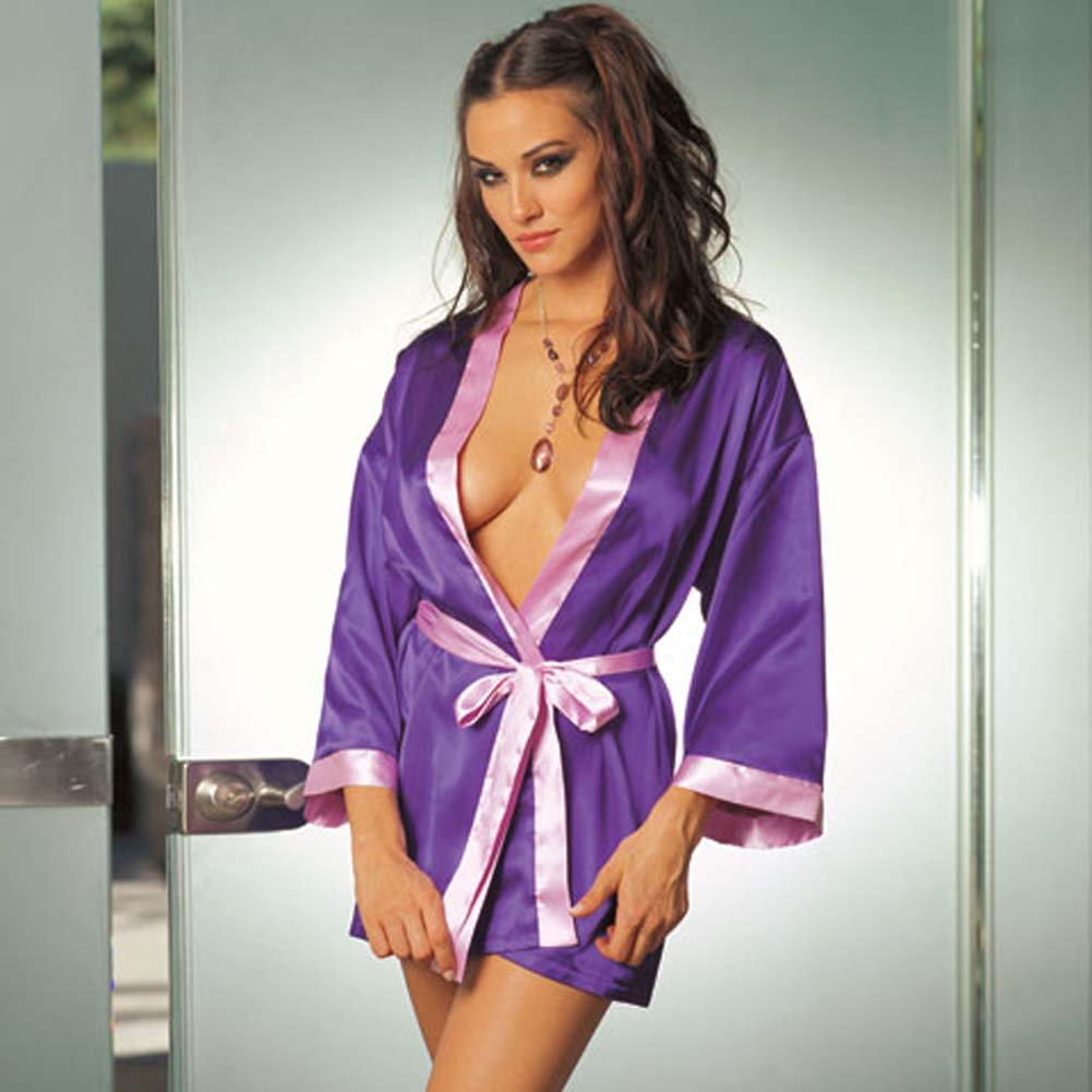 Charmeuse Reversible Sleepwear Robe Purple/Lilac Medium - View #1