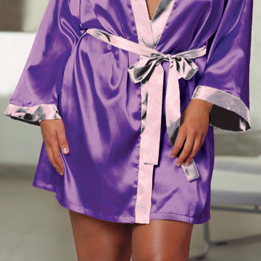 Charmeuse Reversible Sleepwear Robe Purple/Lilac Plus 1X2X - View #4