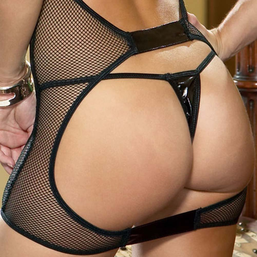 Taboo Fishnet Chemise with Vinyl Trim and Thong Black - View #3