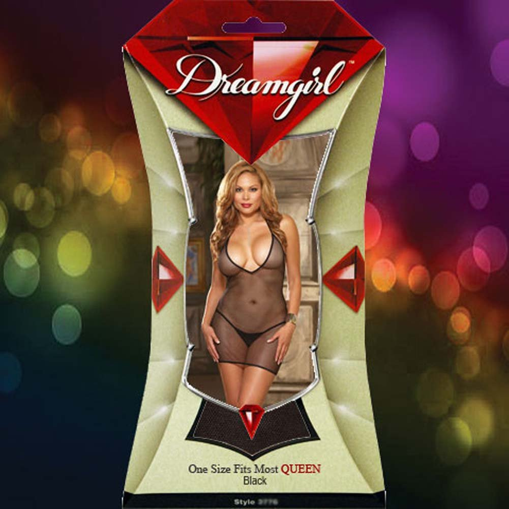 Fishnet Chemise with Vinyl Trim and Thong Plus Size Black - View #4
