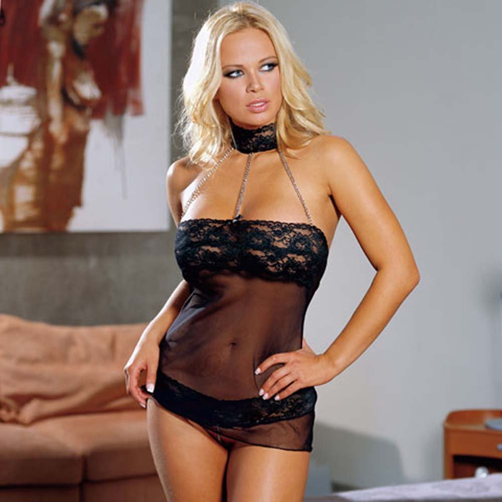 Chains of Love Halter Babydoll Set Black - View #1