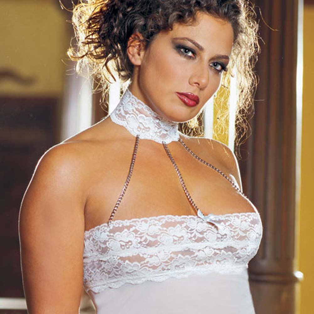 Chains of Love Babydoll Set Plus Size White - View #4