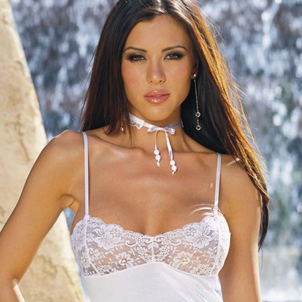 Stretch Satin and Lace Babydoll with Thong White Small - View #2