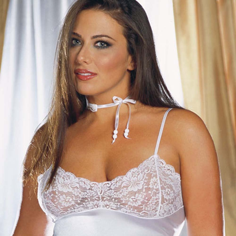 Stretch Satin and Lace Babydoll with Thong White Plus 1X/2X - View #2