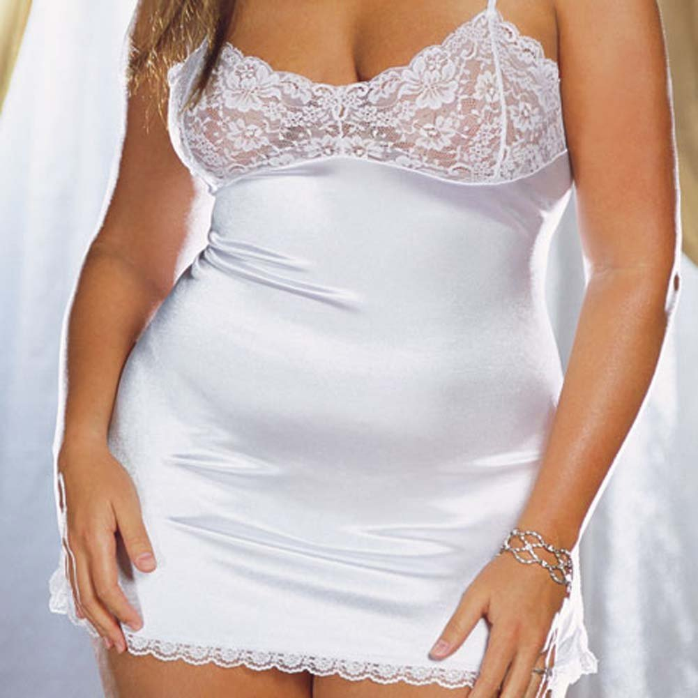 Stretch Satin and Lace Babydoll with Thong White Plus 3X/4X - View #3
