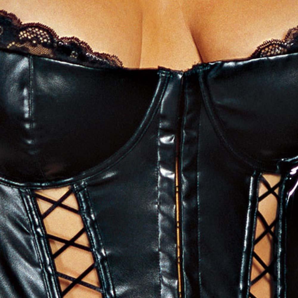 Faux Leather Lace Up Bustier Set Black Plus Size 1X/2X - View #4