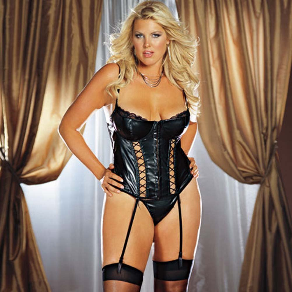 Faux Leather Lace Up Bustier Set Black Plus Size 3X/4X - View #1