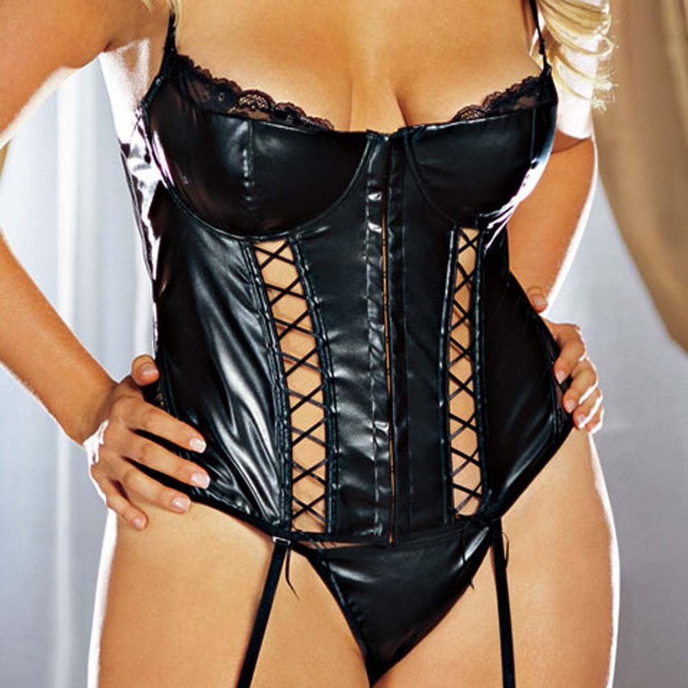 Faux Leather Lace Up Bustier Set Black Plus Size 3X/4X - View #3