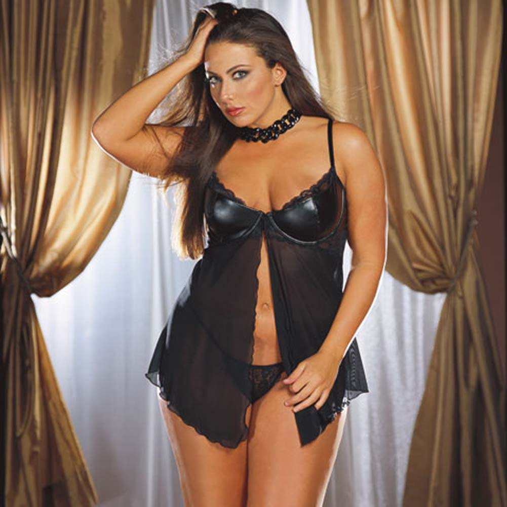 Faux Leather Cup Babydoll and Thong Set Plus Size 1X/2X - View #1