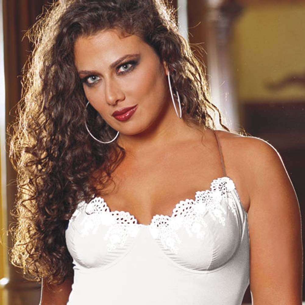 Sleek Underwire Babydoll with Thong White Plus Size 1X/2X - View #2