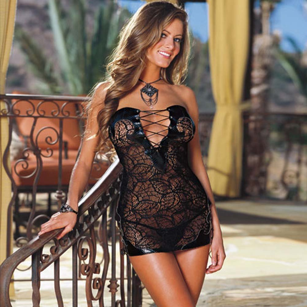 Faux Snakeskin Micro Dress and Thong Set Black Medium - View #1