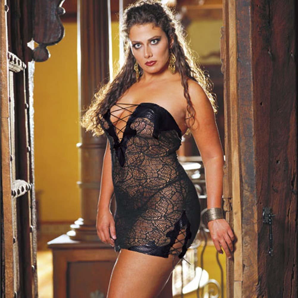 Faux Snakeskin Micro Dress and Thong Plus Size 1X/2X Black - View #1