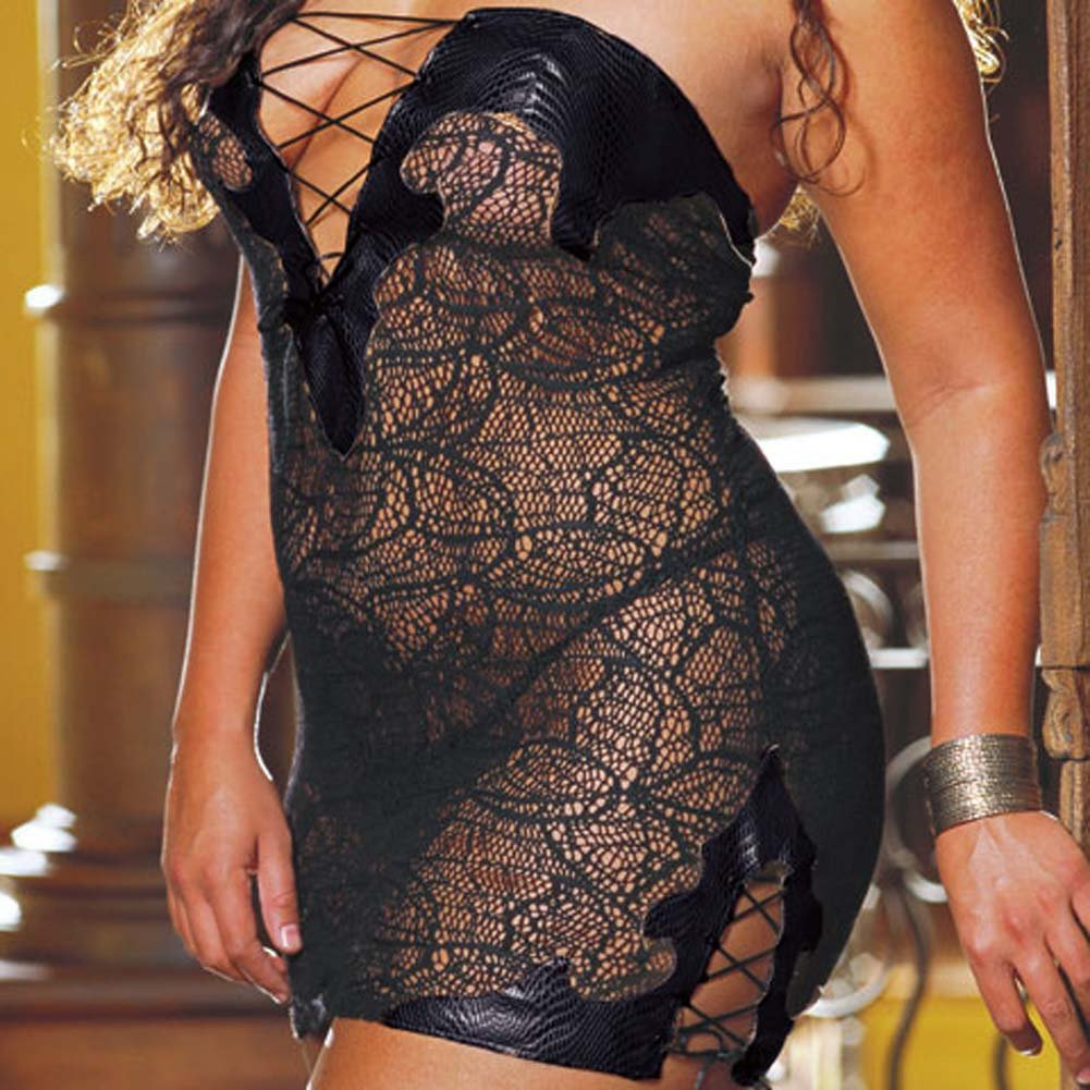 Faux Snakeskin Micro Dress and Thong Plus Size 1X/2X Black - View #3
