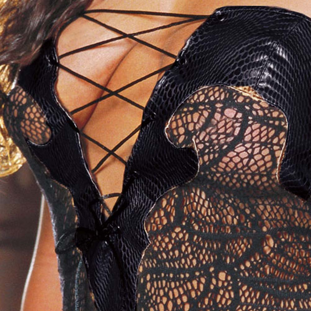Faux Snakeskin Micro Dress and Thong Plus Size 3X/4X Black - View #4