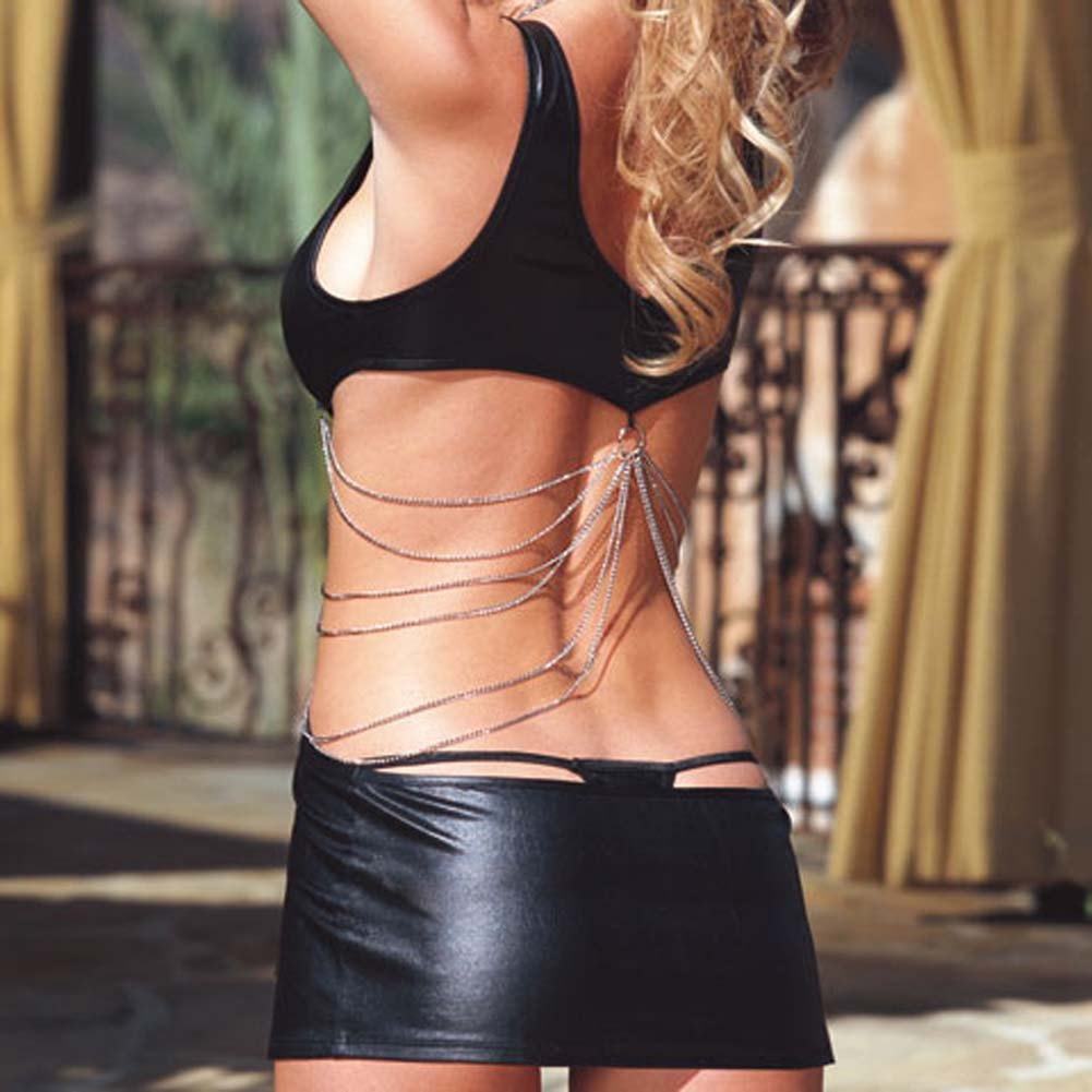 Glossy Mini Dress with Chain Details and Thong Black Medium - View #4