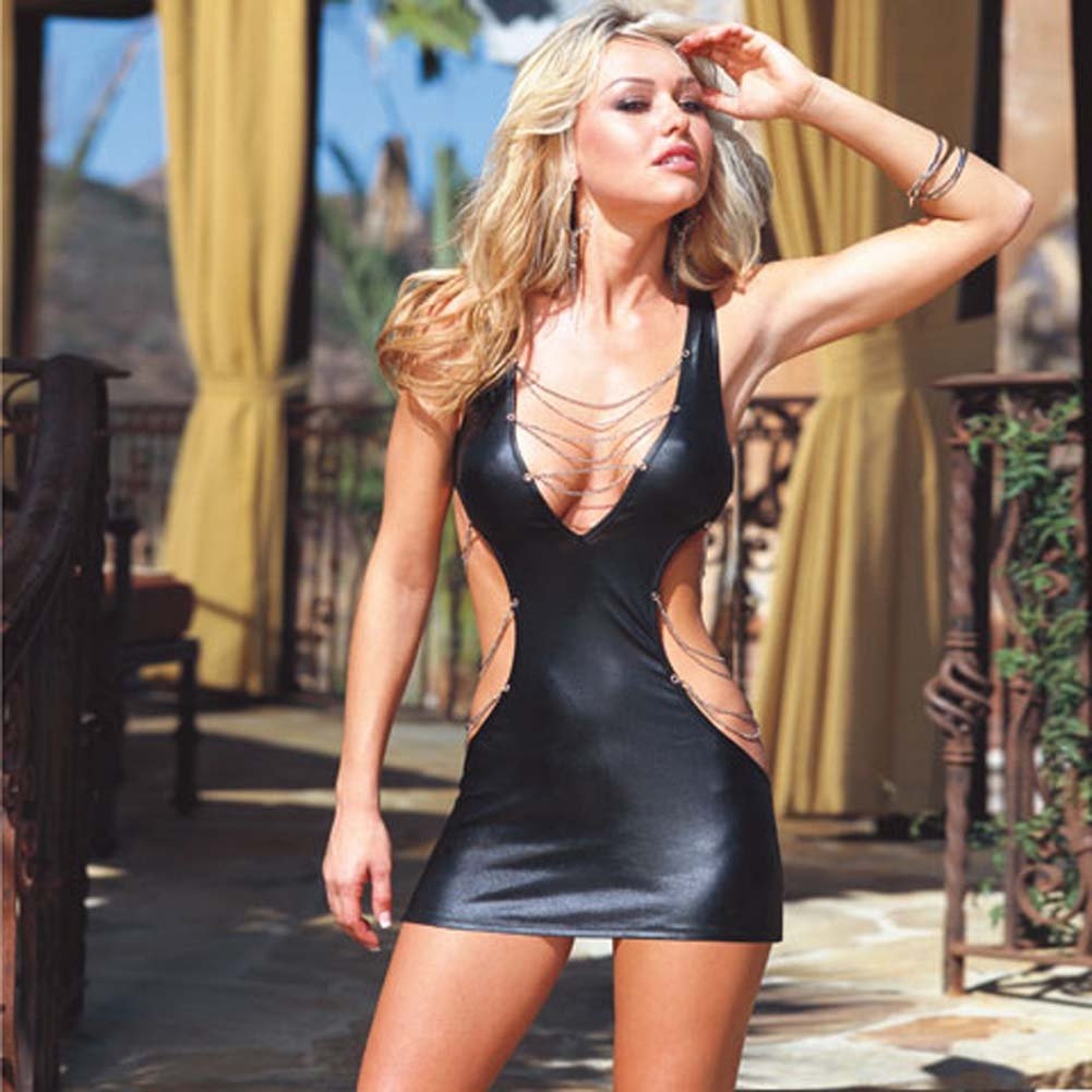 Glossy Mini Dress with Chain Details and Thong Black Large - View #1