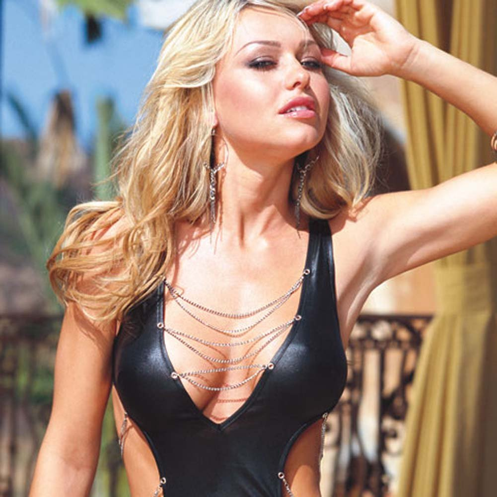 Glossy Mini Dress with Chain Details and Thong Black Large - View #3