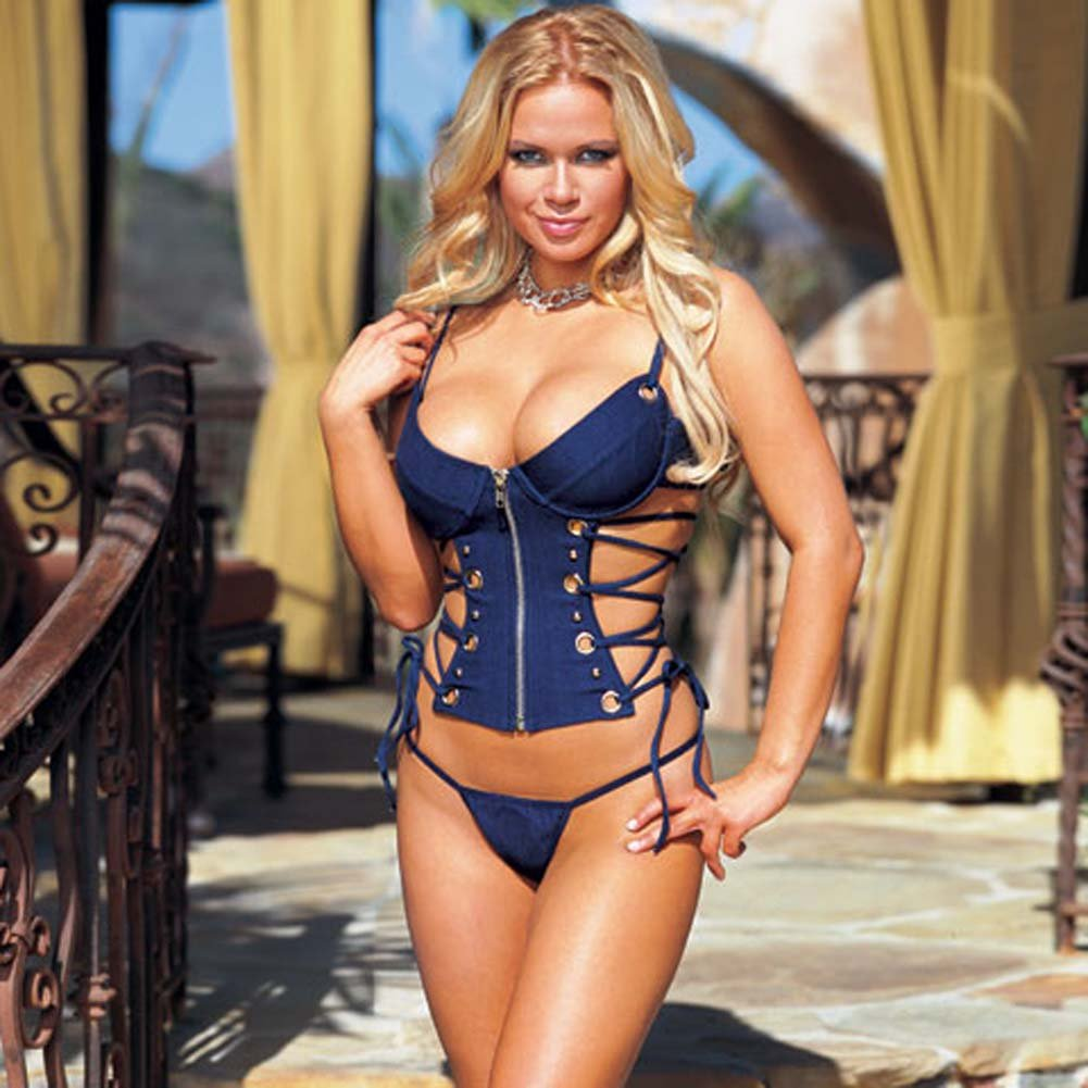 Denim Corset with Thong Blue Medium - View #1