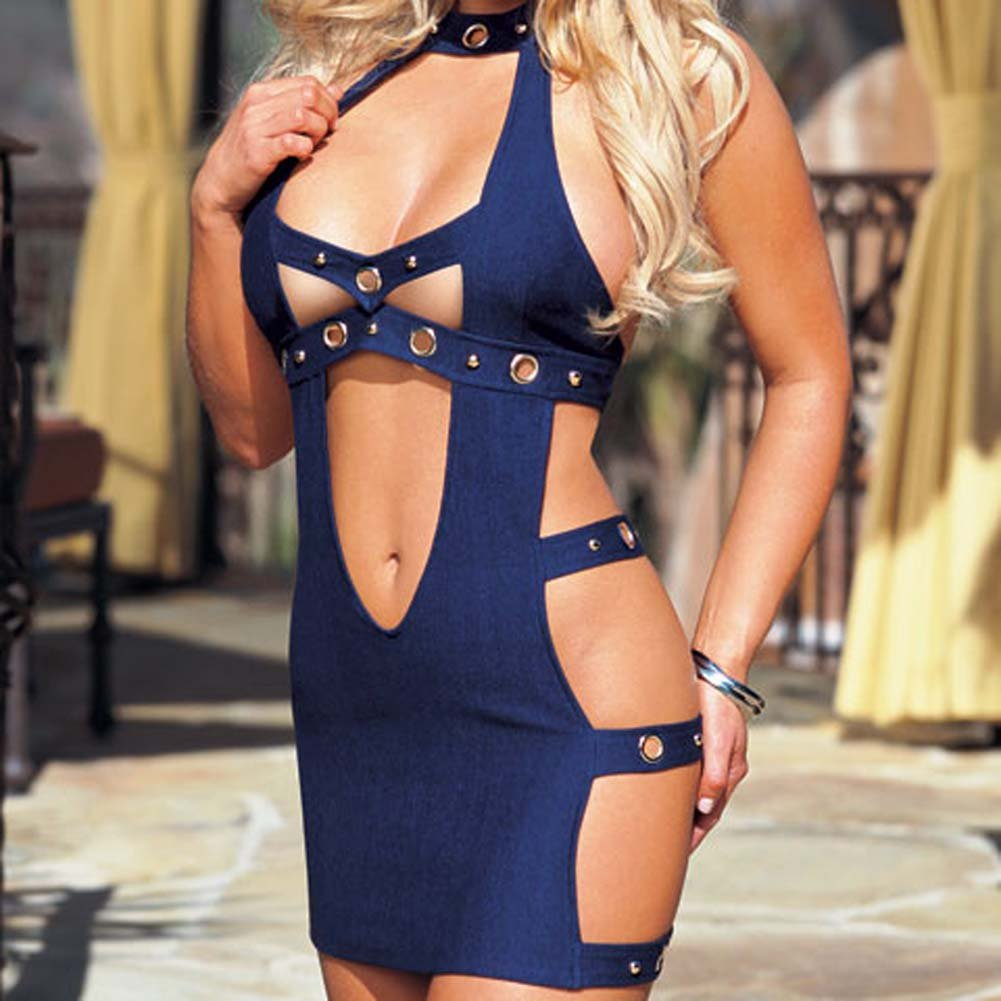 Denim Dress with Thong Blue Small - View #3