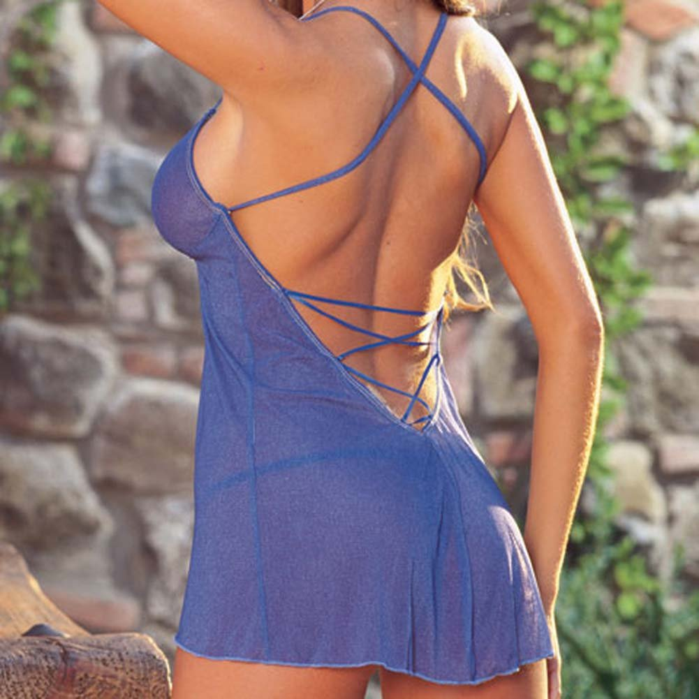Delicate Denim Babydoll with Thong Blue Large - View #4